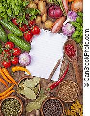 sortiment, i, friske grønsager