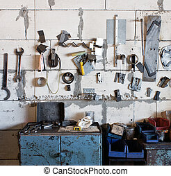 sortiment, i, redskaberne, hængning, muren