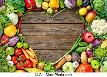 sortimento, de, fresco, fruist, e, legumes, em, forma coração