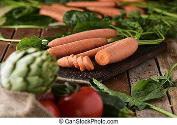 sortimento, de, verduras cruas