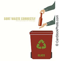 sorting glass, pollution of environment