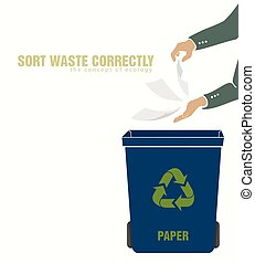 sorting paper, pollution of environment