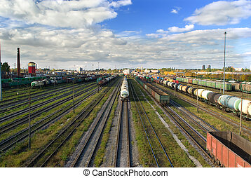Sorting station with freight trains