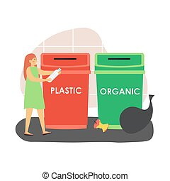Plastic and organic recycle waste bins. Woman, ecologist throwing plastic bottle into red trash can, flat vector illustration. Sorting garbage for recycling, waste management, environment protection.