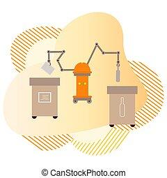 sortowanie, tracić, wektor, eco, recycling, odpadki, robot
