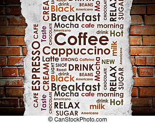 sorts of coffee on brick wall background