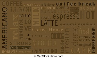 Sorts of coffee vector background with different typograhpy.