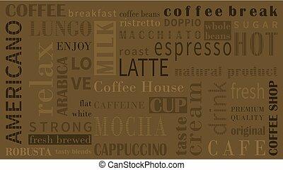 sorts, von, bohnenkaffee, vektor, hintergrund, mit, verschieden, typograhpy.