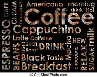 sorts, von, coffe, hintergrund