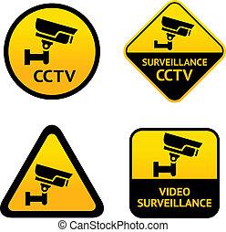 sorveglianza, video, etichette, set