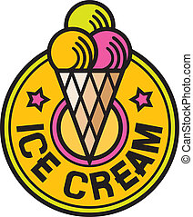 sorvete, etiqueta, (ice, creme, icon)