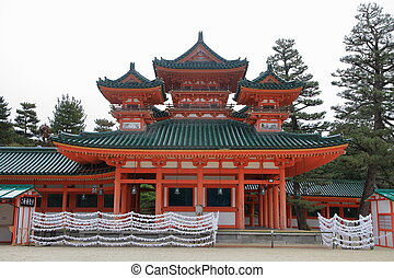 Soryuro tower of Heian shrine in Kyoto, Japan