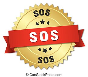 sos 3d gold badge with red ribbon