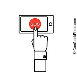 SOS button with hand.