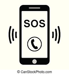 sos call icon phone, vector sos call help on phone sign