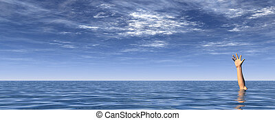 sos - arm on water landscape and blue cloudy sky - 3d...