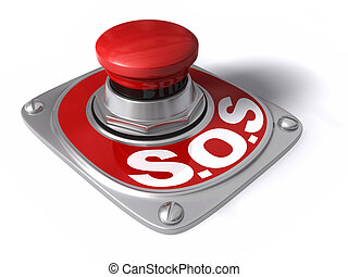 S.O.S. button over white, concept of assistance.