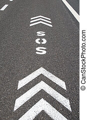 SOS emergency freeway lane - SOS sign with direction arrows...