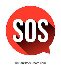 SOS emergency sign red vector