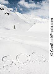 sos, escrito, em, a, neve
