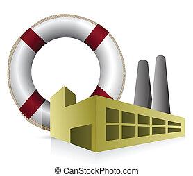 SOS factory concept illustration
