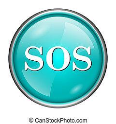 SOS icon - Round glossy icon with white design on aqua...