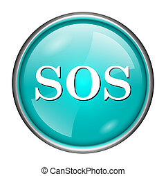 SOS icon - Round glossy icon with white design on aqua...