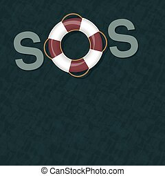 SOS Lifebuoy Life Saver Ring Ocean Water