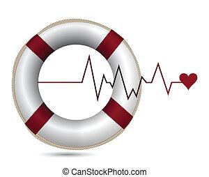 sos lifeline health care illustration design over white