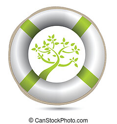 sos lifesaver eco environment illustration design over white