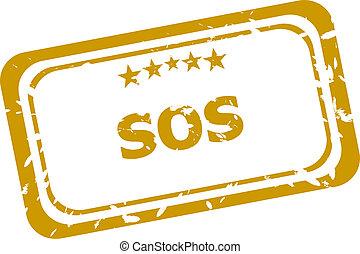 sos, postzegel, vrijstaand, op wit, achtergrond