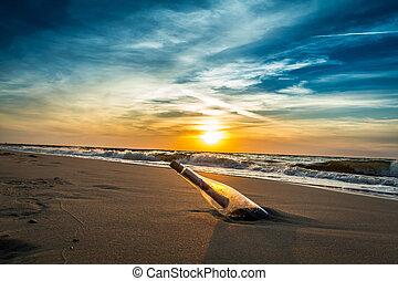 sos, praia, mensagem, garrafa
