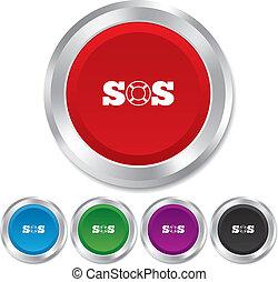 SOS sign icon. Lifebuoy symbol. Round metallic buttons....