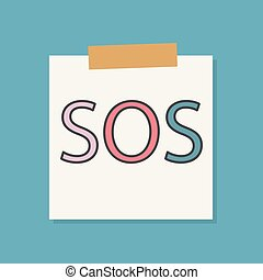SOS sign on a notebook paper- vector illustration