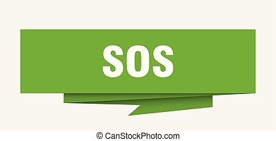 sos sign. sos paper origami speech bubble. sos tag. sos...