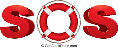 SOS signal with life ring, 3d vector symbol.