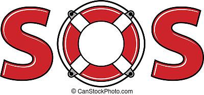SOS signal with life ring. - SOS signal with life ring,...