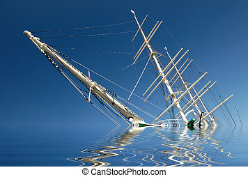 Sinking sailing ship in front of blue sky.