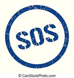 sos stamp - sos blue round stamp