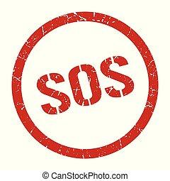 sos stamp - sos red round stamp