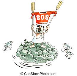SOS  - Signal SOS on a uninhabited island
