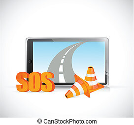 sos tablet road highway illustration