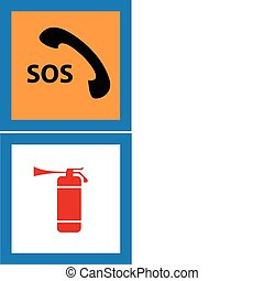 sos telephone and fire extinguisher