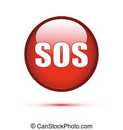 SOS text on red button