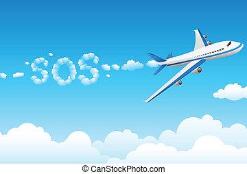sos, vliegtuig, bewolkt
