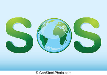 sos with globe - illustration of sos with globe on white...