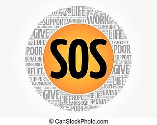 SOS word cloud collage