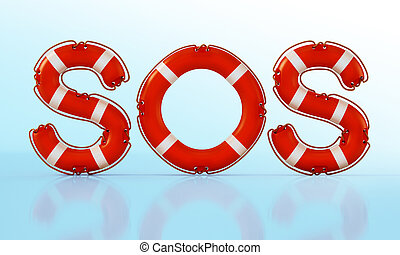 SOS word with life buoys. 3D illustration