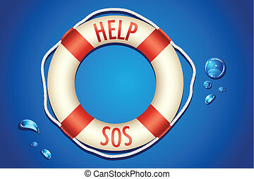 SOS written on Lifebouy - illustration of help and sos...
