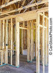 sosna, stajenki, w, nowy dom, zbudowanie